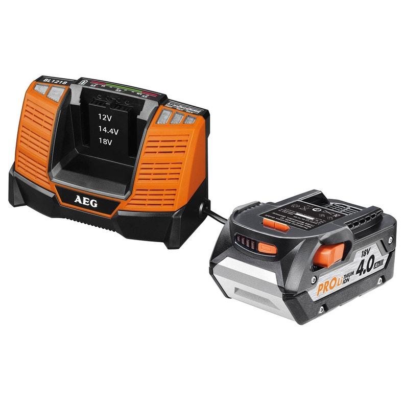 Lot D 1 Batterie Et D 1 Chargeur Aeg 18 V 4 Ah Setl1840al Lithium Ion