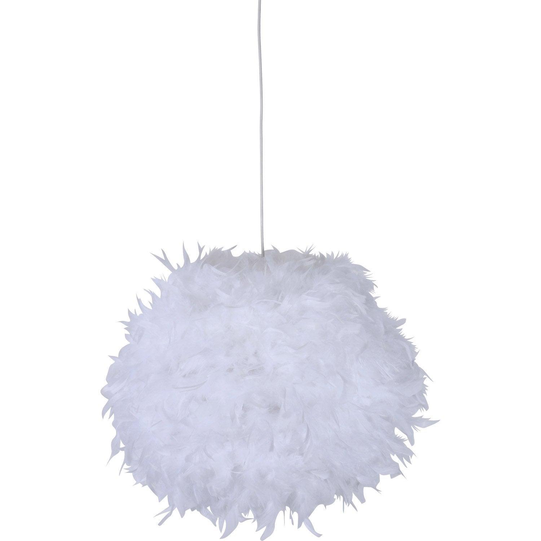suspension e27 romantique charme kokot plumes blanc 1 x 11 w corep leroy merlin. Black Bedroom Furniture Sets. Home Design Ideas