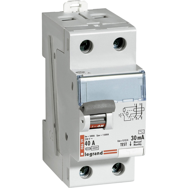 interrupteur différentiel legrand, 30 ma 40 a ac | leroy merlin - Disjoncteur Differentiel Pour Salle De Bain