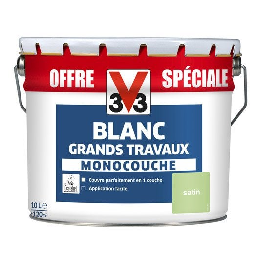 Peinture murs et plafonds v33 satin 10l leroy merlin for Machine carrelage monocouche