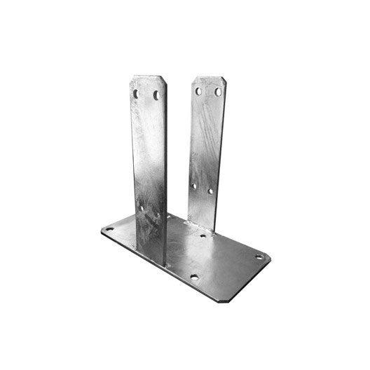 support sceller acier galvanis visser poteau gris x x cm leroy merlin. Black Bedroom Furniture Sets. Home Design Ideas