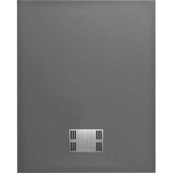 Receveur de douche rectangulaire l.100 x l.80 cm, résine gris Slate
