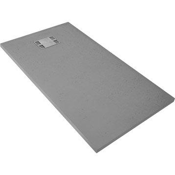 Receveur de douche rectangulaire l.140 x l.80 cm, résine gris Slate