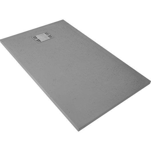 receveur de douche rectangulaire l.140 x l.90 cm, résine gris