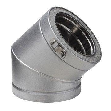 Coude pour conduit double paroi POUJOULAT, D150 mm 45° Ep.30 mm