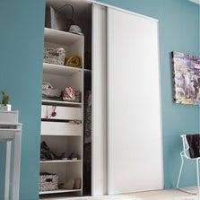 Lot de 2 portes de placard coulissante blanc l.180 x H.250 cm