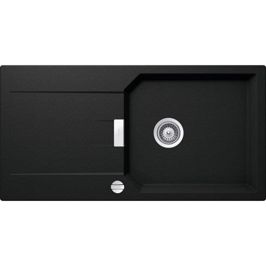 evier encastrer quartz et r sine noir ev83011lm 139 grand bac avec gouttoir leroy merlin. Black Bedroom Furniture Sets. Home Design Ideas