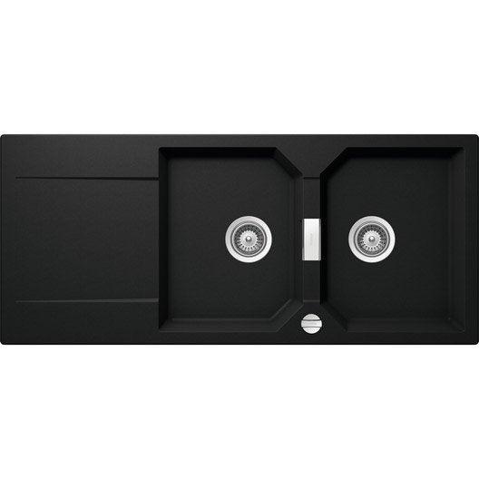 evier encastrer quartz et r sine noir ev8321lm 116 2 bacs avec gouttoir leroy merlin. Black Bedroom Furniture Sets. Home Design Ideas