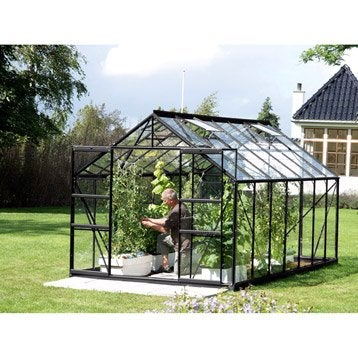 Serre de jardin en verre trempé Uranus noir, 11.437 m²