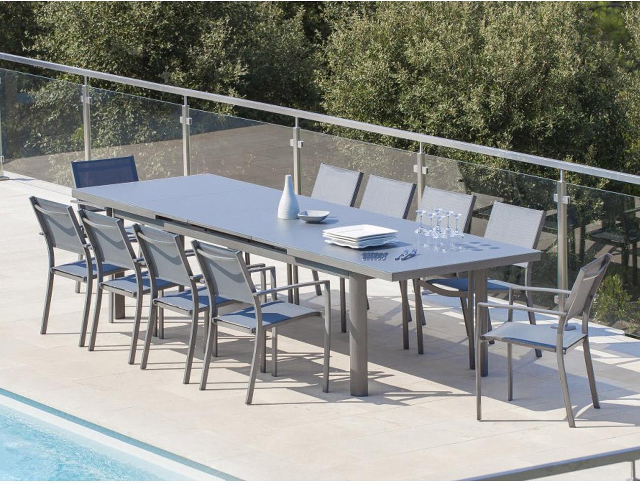 table de jardin magnolia rectangulaire gris 12 personnes leroy merlin. Black Bedroom Furniture Sets. Home Design Ideas