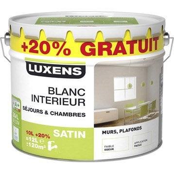 Peinture blanc intérieur mur et plafond LUXENS 10L+20% gratuit