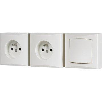 Lot de 1 interrupteur et 2 prises avec terre saillie Emeraude, DEBFLEX, blanc