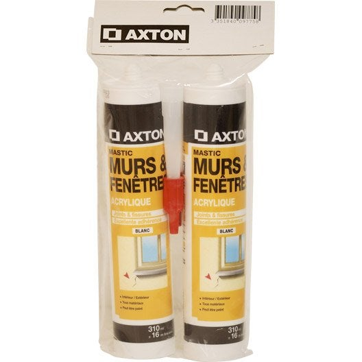 Mastic d 39 tanch it axton mur et fen tre 310 ml blanc for Mastic bois exterieur