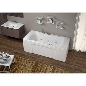 Baignoire balnéo rectangulaire, tablier et robi., L.180x l.80 cm, THALA Confort