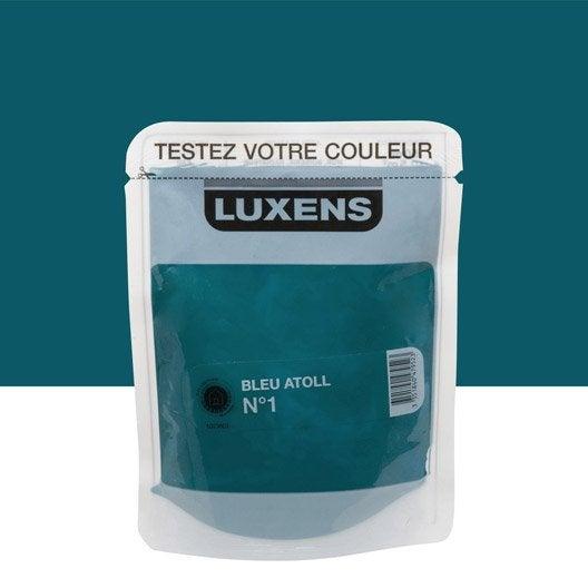 Testeur peinture bleu atoll 1 luxens couleurs int rieures satin l leroy merlin for Peinture radiateur couleur aluminium