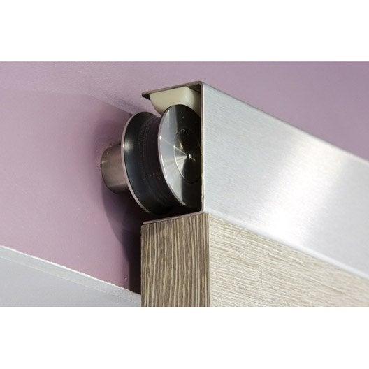 Rail coulissant jetset bois pour porte de largeur 73 cm for Systeme de porte coulissante en applique