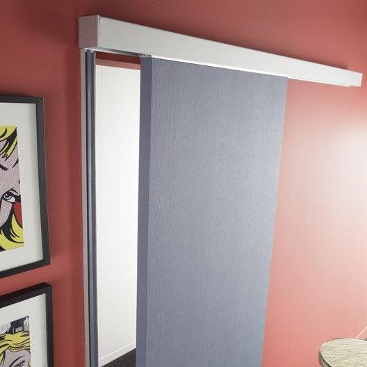 Rail coulissant et habillage aluminium anodis swing acoustique 73 cm - Porte coulissante sans rail ...