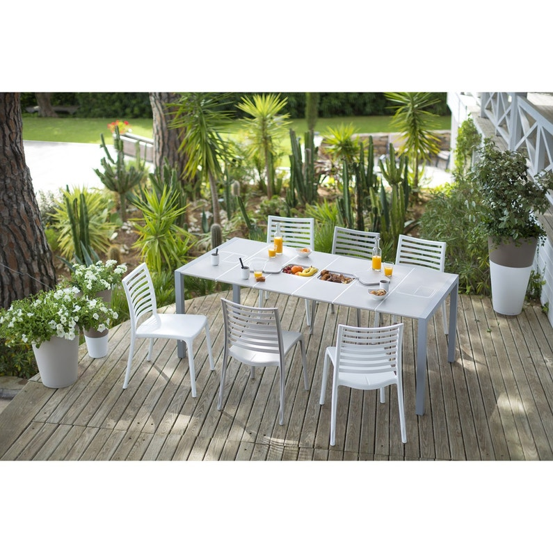 Table de jardin GROSFILLEX Sunday rectangulaire lin 8 personnes ...
