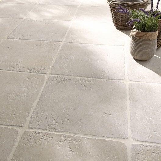 Carrelage blanc effet pierre toscane x cm - Carrelage leroy merlin exterieur ...