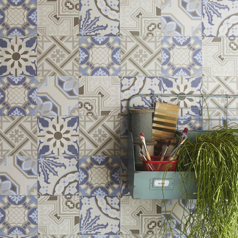 Papier Peint Intisse Patch De Mosaique Bleu Leroy Merlin