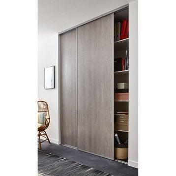 Lot de 2 portes de placard coulissante effet chêne grisé EKIPA l.180 x H.250 cm
