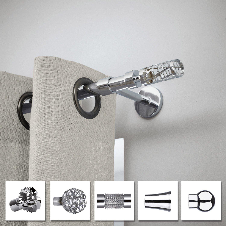 lot de 2 embouts inspire chrom brillant pour tringle rideau cylindre diam 2 leroy merlin. Black Bedroom Furniture Sets. Home Design Ideas