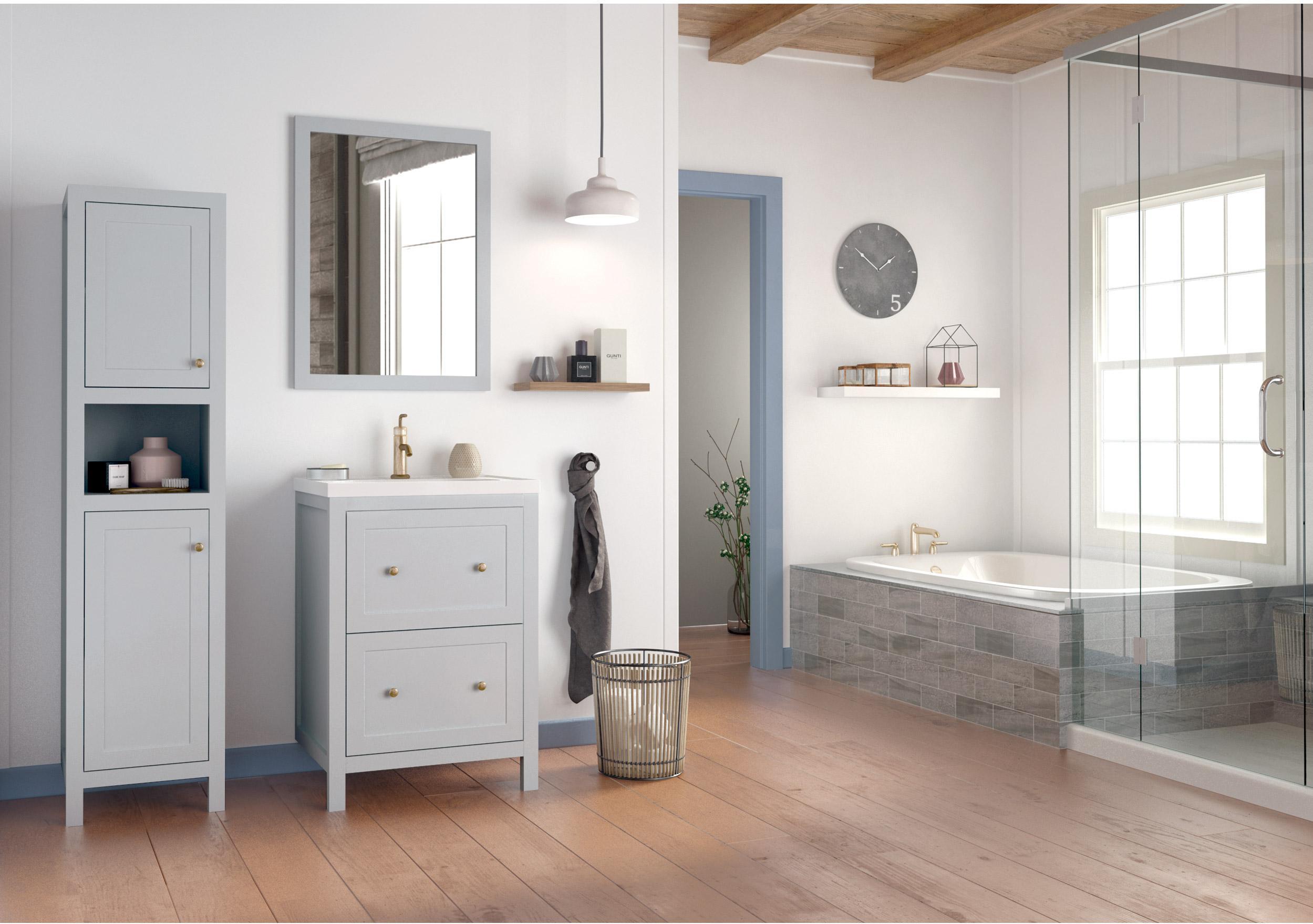 Meuble de salle de bains l.59.6 x H.85 x P.46 cm, gris, Charm