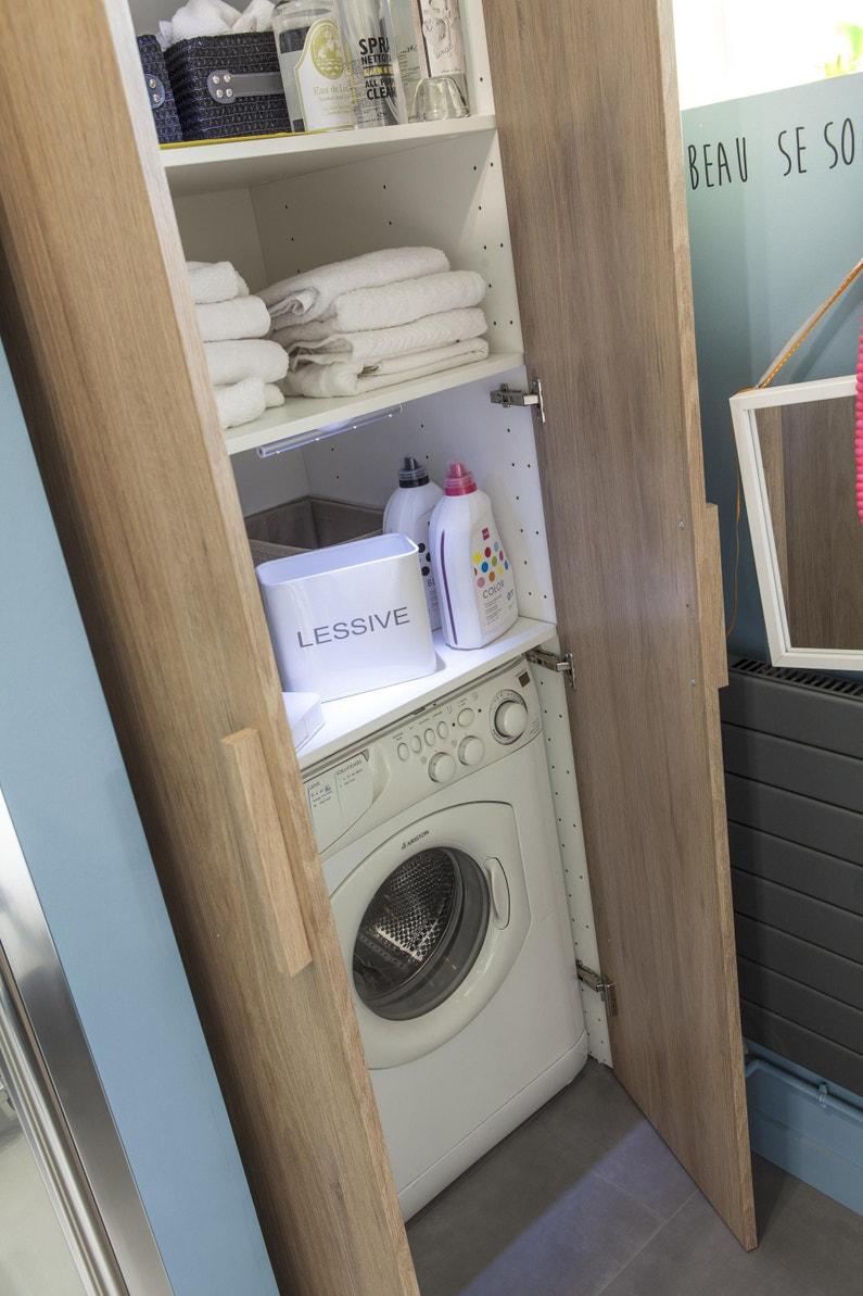Machine À Laver Et Sèche Linge Intégré caisson spaceo home, blanc h.200 x l.80 x p.60 cm