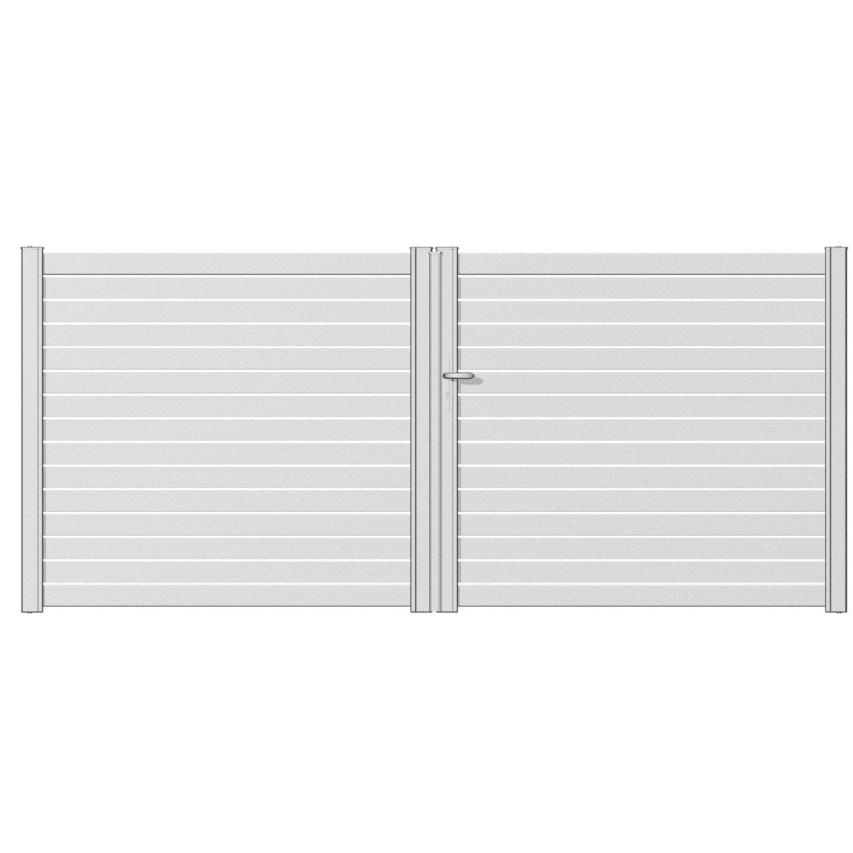 Portail battant aluminium trez blanc naterial cm x cm leroy merlin for Portail aluminium blanc battant