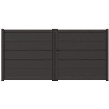 Portail battant aluminium hezo naterial gris zingu 350x170cm - Portail bois leroy merlin ...