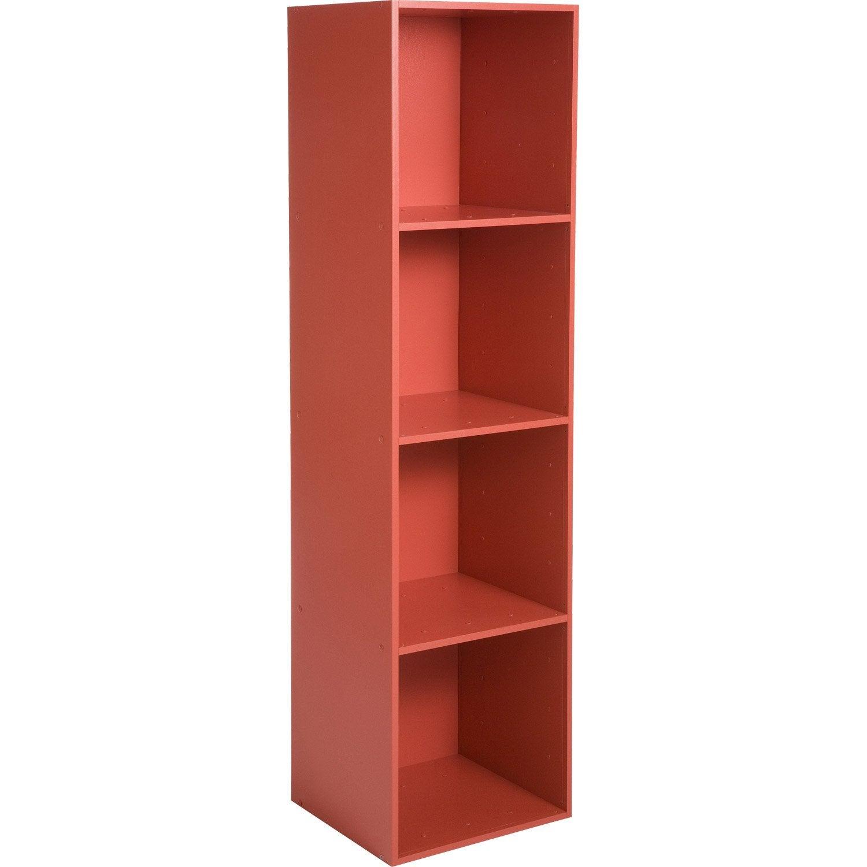 Etagère 4 cases MULTIKAZ, rouge H.137.2 x l.35.2 x P.31.7 cm