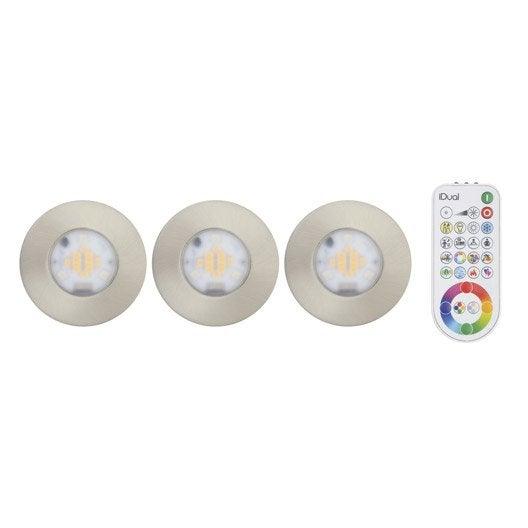 Kit 3 spots à encastrer salle de bains Idual fixe led LED ...
