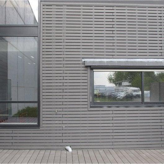 Clin pour bardage bois composite gris ebony xyltech 2 7 m for Bardage maison composite