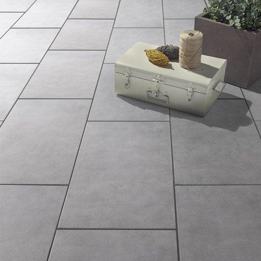 Carrelage gris effet b ton kiosque x cm for Carrelage gris beton