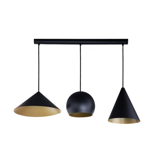 Suspension design rubio m tal noir or 3 x 60 w eglo for Suspension luminaire noir et or