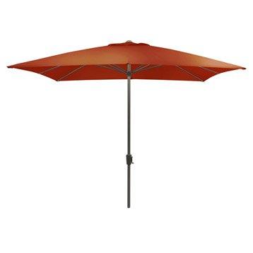 Parasol droit Rhea terracotta carré, L.300 x l.300 cm