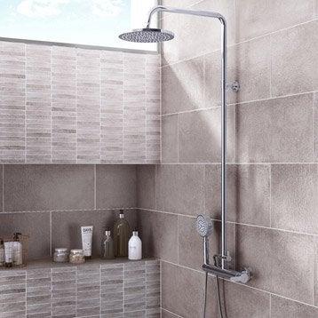 Faïence mur gris, Décor tonnerre l.25 x L.50 cm