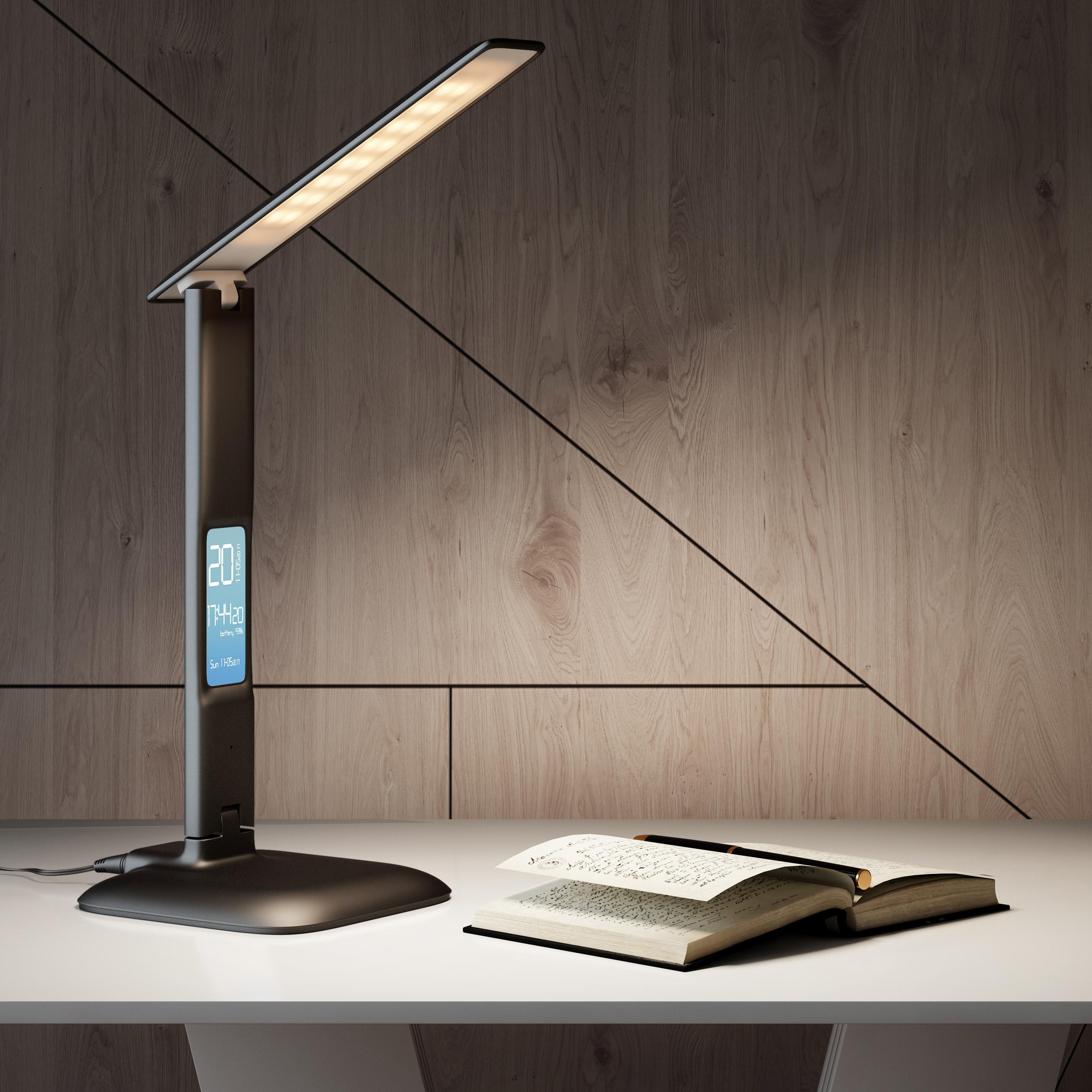 Lampe de bureau, moderne, plastique noir montre – température, INSPIRE Alex
