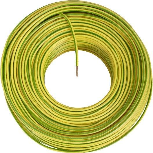 fil lectrique h07vu 2 5 mm vert jaune en couronne 100. Black Bedroom Furniture Sets. Home Design Ideas