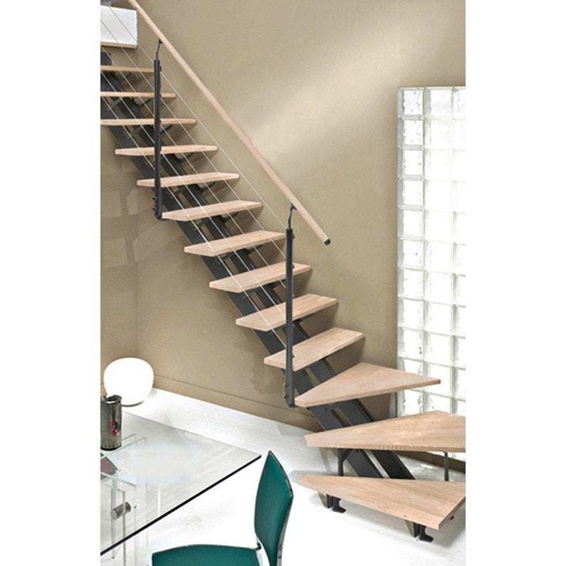 Escalier Quart Tournant Escatwin Structure Aluminium Marche Bois