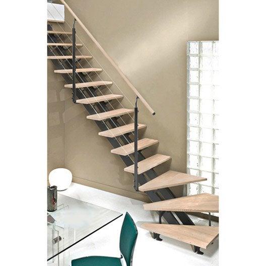 Escalier quart tournant escatwin structure aluminium marche bois leroy merlin - Prix escalier quart tournant ...