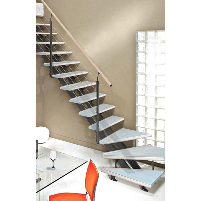 escalier quart tournant escatwin structure aluminium marche verre leroy merlin. Black Bedroom Furniture Sets. Home Design Ideas
