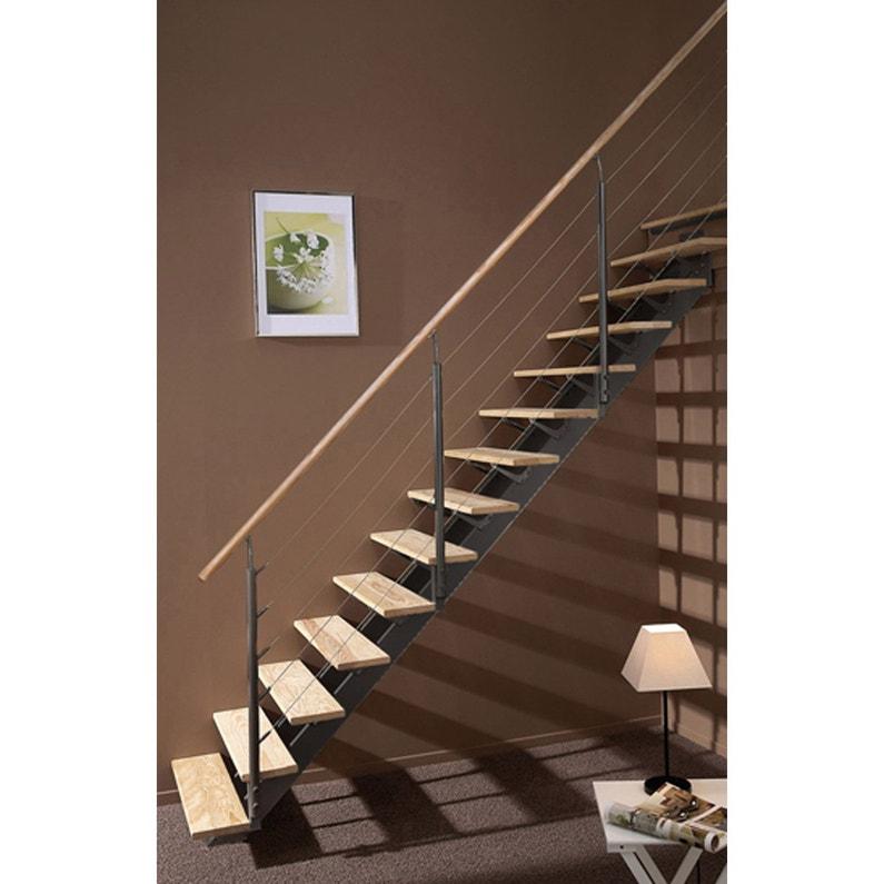 Escalier Droit Alu Gris Escatwin 14 Marches Pin L 85