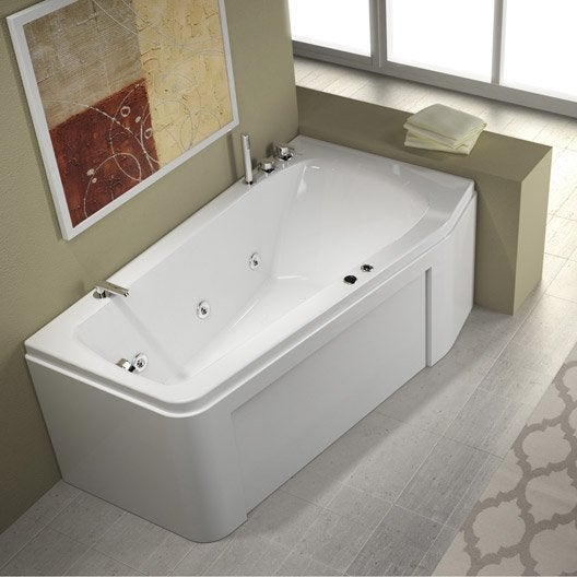 Baignoire baln o avec tablier asym trique cm thala confort ler - Avis sur baignoire balneo ...