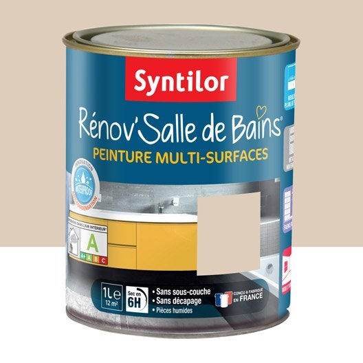 peinture r nov 39 salle de bains syntilor beige poudr 1 l leroy merlin. Black Bedroom Furniture Sets. Home Design Ideas