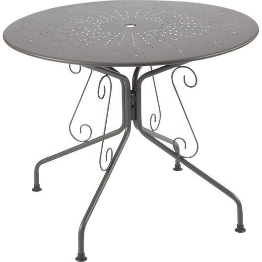 Table de jardin Romantique ronde gris graphithe 4 personnes   Leroy ...
