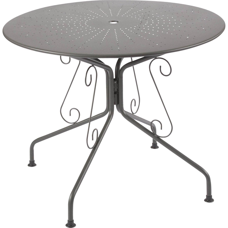 table de jardin romantique ronde gris graphithe 4 personnes leroy merlin - Table Ronde Jardin