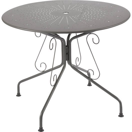 Table de jardin romantique ronde gris graphithe 4 - Table jardin 4 personnes ...
