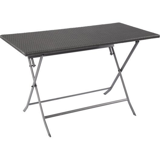 Table de jardin ratan rectangulaire noir 4 personnes for Longueur table 4 personnes