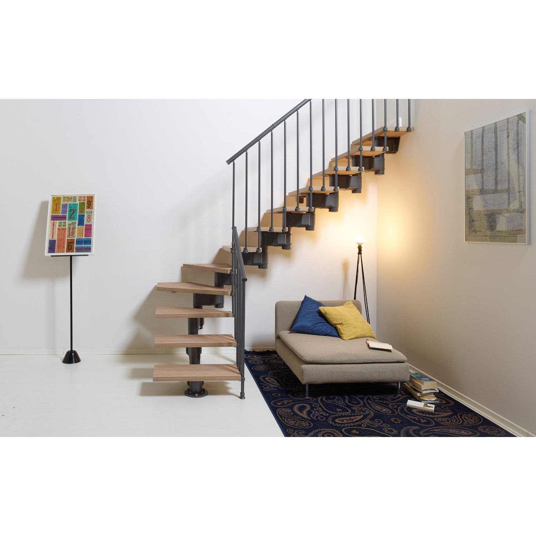 Escalier droit Long structure acier marche bois PIXIMA